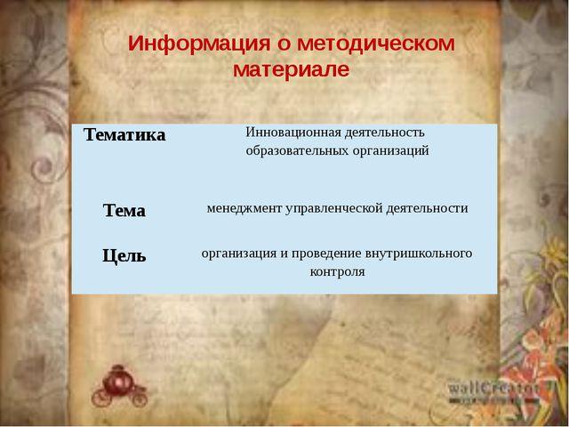 Информация о методическом материале Тематика Инновационнаядеятельность образо...