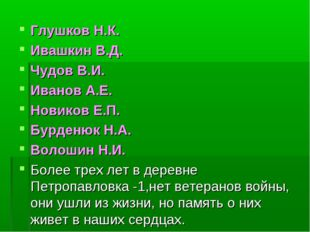 Глушков Н.К. Ивашкин В.Д. Чудов В.И. Иванов А.Е. Новиков Е.П. Бурденюк Н.А.
