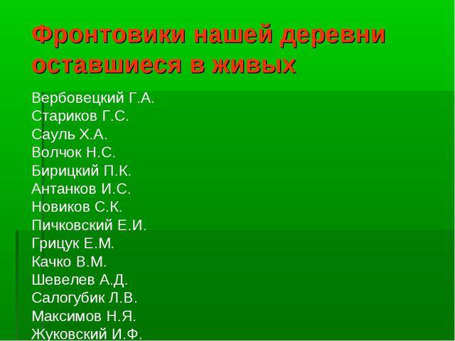 Фронтовики нашей деревни оставшиеся в живых Вербовецкий Г.А. Стариков Г.С. Са...