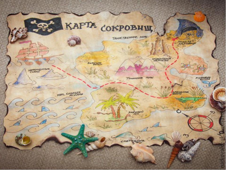 Как нарисовать карту сокровищ для детей своими руками с подсказками