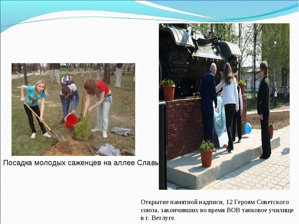 Посадка молодых саженцев на аллее Славы Открытие памятной надписи, 12 Героям...
