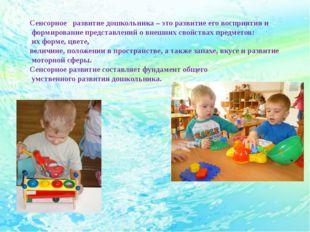 Сенсорное развитие дошкольника – это развитие его восприятия и формирование п