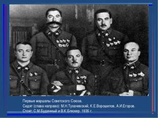 Первые маршалы Советского Союза. Сидят (слава направо): М.Н.Тухачевский, К.Е.