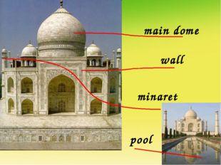 main dome wall minaret pool