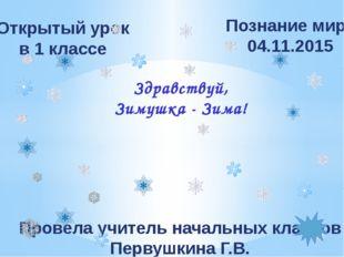 Открытый урок в 1 классе Познание мира 04.11.2015 Здравствуй, Зимушка - Зима!