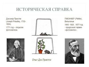 ИСТОРИЧЕСКАЯ СПРАВКА Джозеф Пристли (Joseph Priestley, 1733-1804). 1771 год –