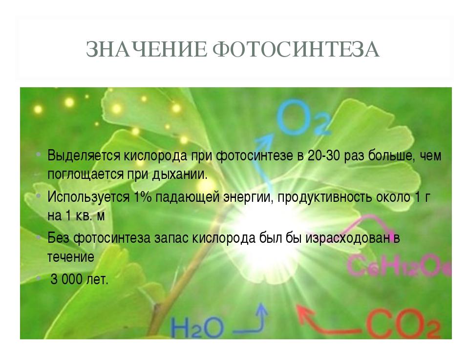 ЗНАЧЕНИЕ ФОТОСИНТЕЗА Выделяется кислорода при фотосинтезе в 20-30 раз больше,...