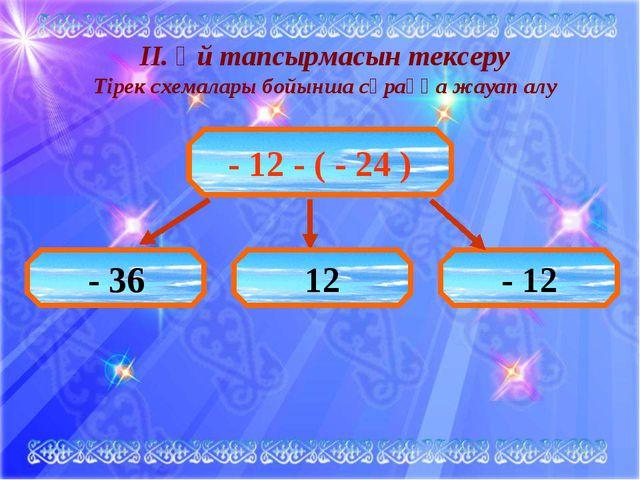 ІІ. Үй тапсырмасын тексеру Тірек схемалары бойынша сұраққа жауап алу - 12 - (...
