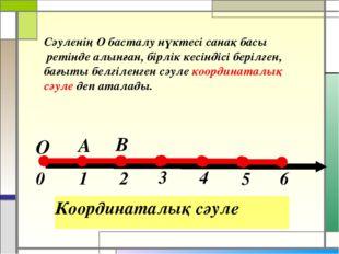 Координаталық сәуле Сәуленің О басталу нүктесі санақ басы ретінде алынған, б
