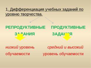 1. Дифференциация учебных заданий по уровню творчества. РЕПРОДУКТИВНЫЕПРОДУ