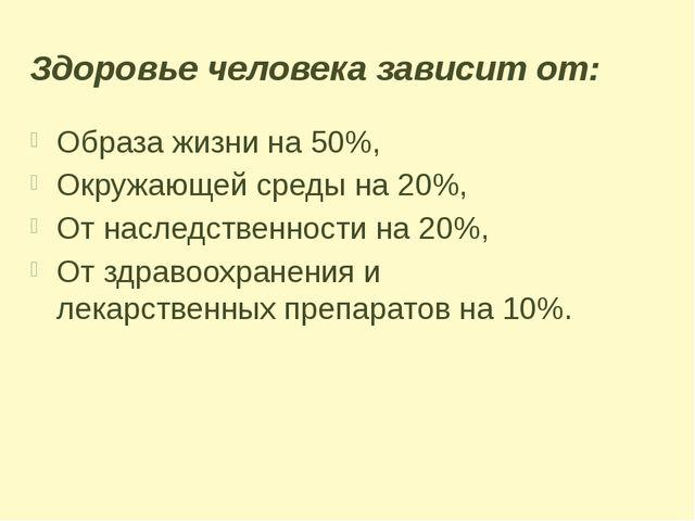 Здоровье человека зависит от: Образа жизни на 50%, Окружающей среды на 20%, О...
