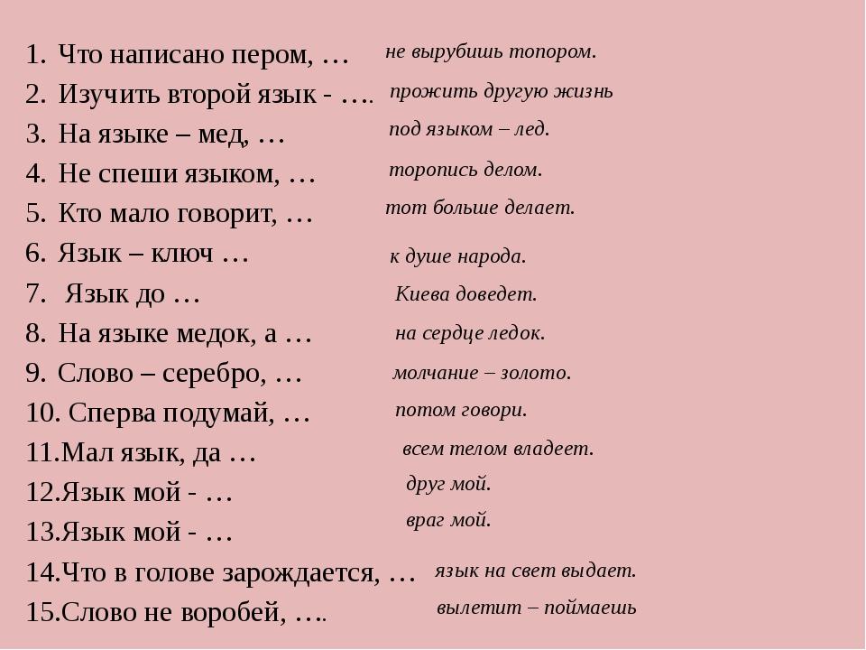 Что написано пером, … Изучить второй язык - …. На языке – мед, … Не спеши язы...