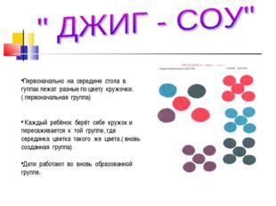 Первоначально на середине стола в гуппах лежат разные по цвету кружочки.( пе