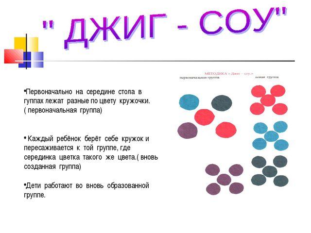 Первоначально на середине стола в гуппах лежат разные по цвету кружочки.( пе...