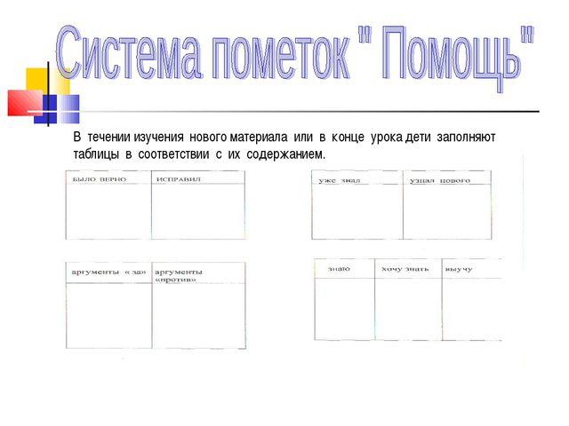 В течении изучения нового материала или в конце урока дети заполняют таблицы...