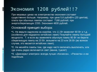 Экономия 1208 рублей!!? При мировых ценах на электричество экономия составит