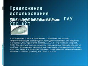 Для наружного освещения:  Спецификация : Область применения : Светильник кон