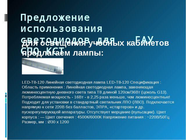 Предложение использования светодиодов для ГАУ СПО КСТ Для освещения учебных к...