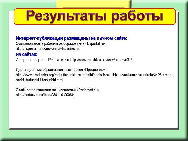 Интернет-публикации размещены на личном сайте: Социальная сеть работников обр...