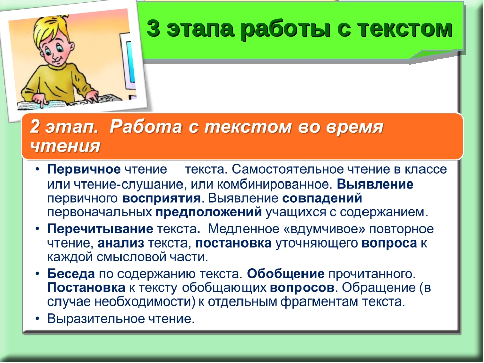 3 этапа работы с текстом