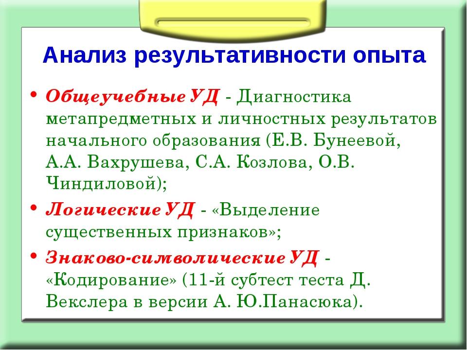 Анализ результативности опыта Общеучебные УД - Диагностика метапредметных и л...