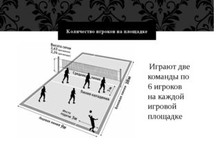 Количество игроков на площадке Играют две команды по 6 игроков на каждой игро