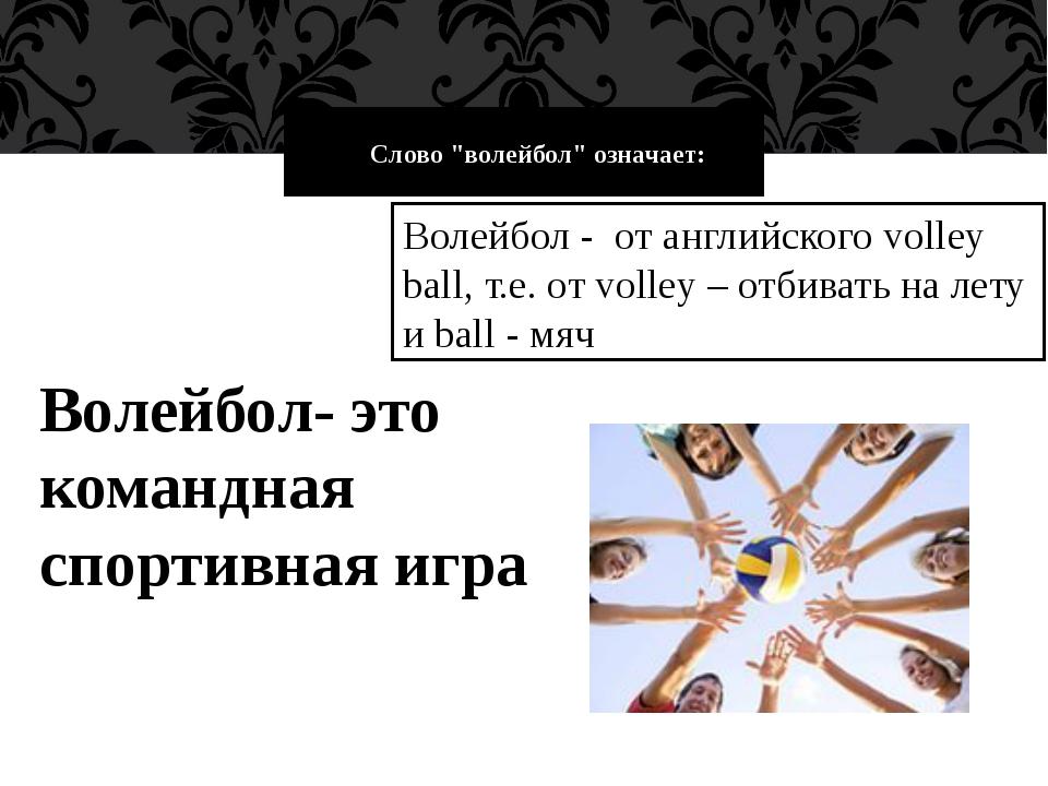 """Слово """"волейбол"""" означает: Волейбол - от английского volley ball, т.е. от..."""