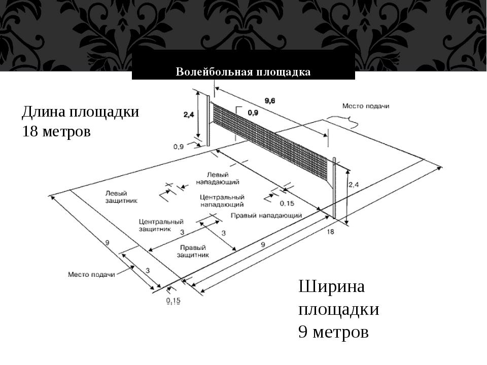 Волейбольная площадка Длина площадки 18 метров Ширина площадки 9 метров