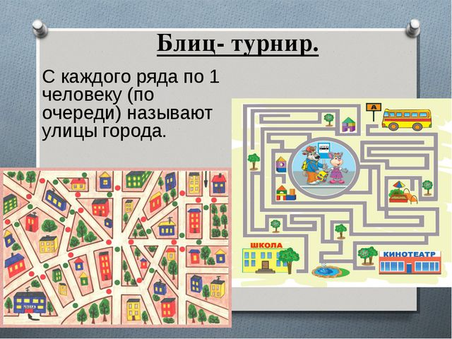 Блиц- турнир. С каждого ряда по 1 человеку (по очереди) называют улицы города.