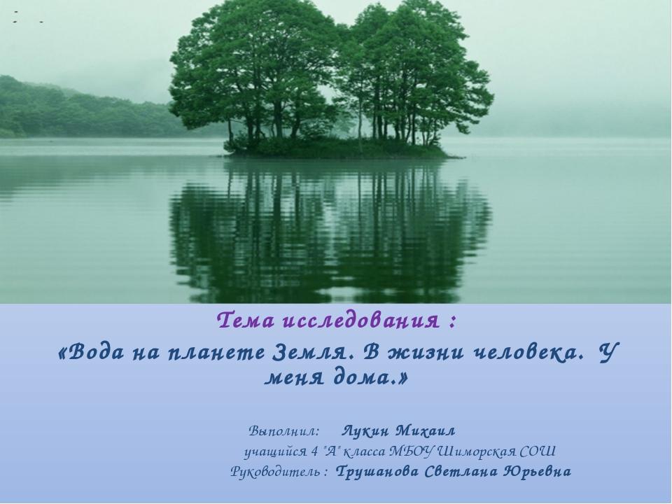 Тема исследования : «Вода на планете Земля. В жизни человека. У меня дома.»...
