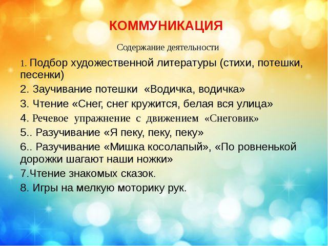 КОММУНИКАЦИЯ Содержание деятельности 1.Подбор художественной литературы (стих...