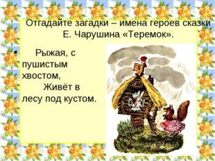 Отгадайте загадки – имена героев сказки Е. Чарушина «Теремок». Рыжая, с пушис