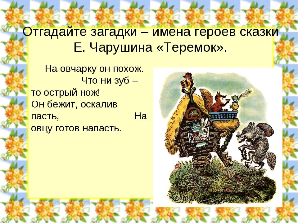 Отгадайте загадки – имена героев сказки Е. Чарушина «Теремок». На овчарку он...