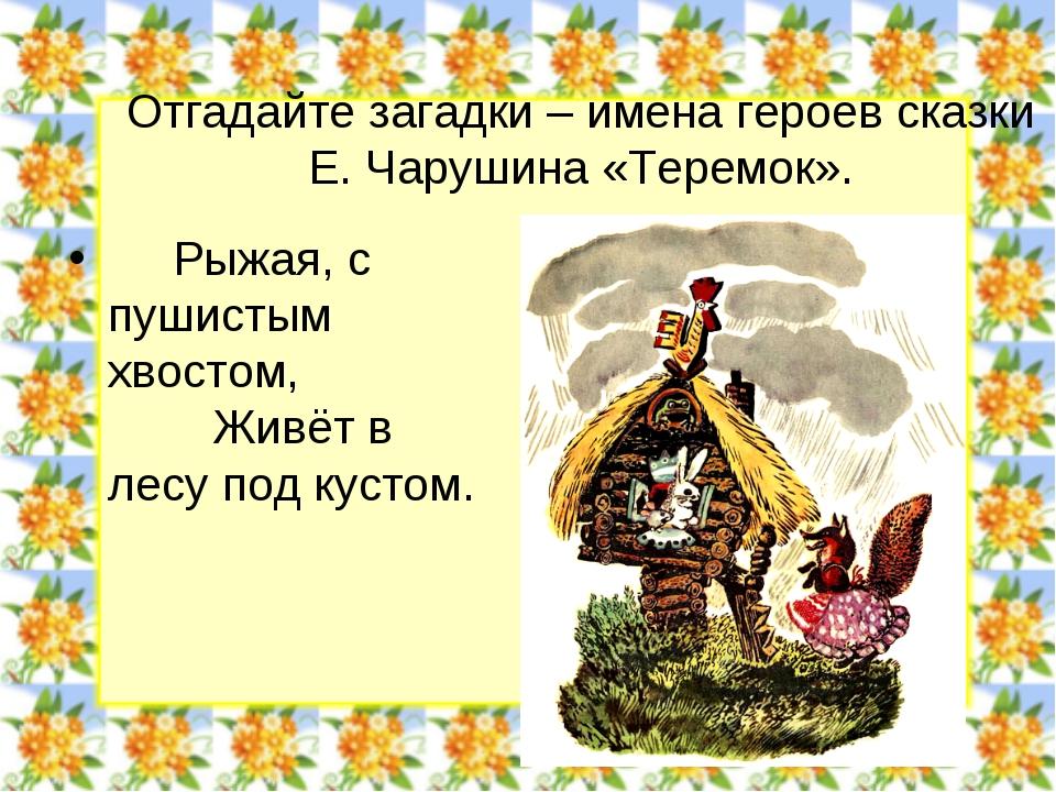 Отгадайте загадки – имена героев сказки Е. Чарушина «Теремок». Рыжая, с пушис...