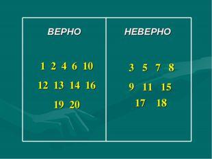 ВЕРНО НЕВЕРНО 1 2 4 6 10 12 13 14 16 19 20 3 5 7 8 9 11 15 17 18