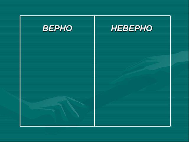 ВЕРНО НЕВЕРНО