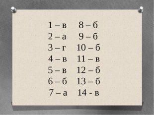 1 – в8 – б 2 – а9 – б 3 – г10 – б 4 – в11 – в 5 – в12 – б 6 – б13