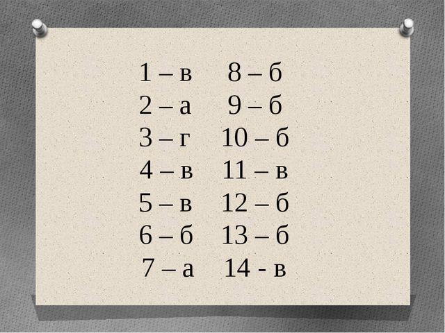 1 – в8 – б 2 – а9 – б 3 – г10 – б 4 – в11 – в 5 – в12 – б 6 – б13...