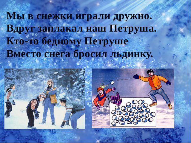 Мы в снежки играли дружно. Вдруг заплакал наш Петруша. Кто-то бедному Петруше...