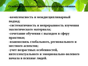 Основные принципы экологического образования: -комплексность и междисциплинар