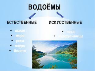 ВОДОЁМЫ ЕСТЕСТВЕННЫЕ ИСКУССТВЕННЫЕ океан море река озеро болото пруд водохран