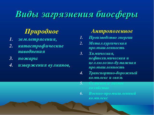 Виды загрязнения биосферы Природное землетрясения, катастрофические наводнени...