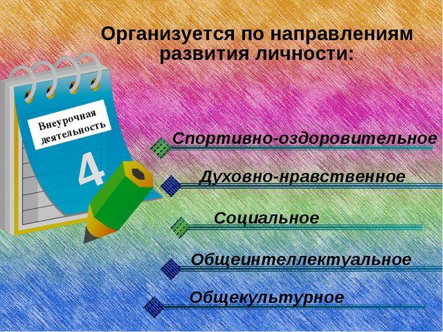 Внеурочная деятельность 4 Организуется по направлениям развития личности: Спо...