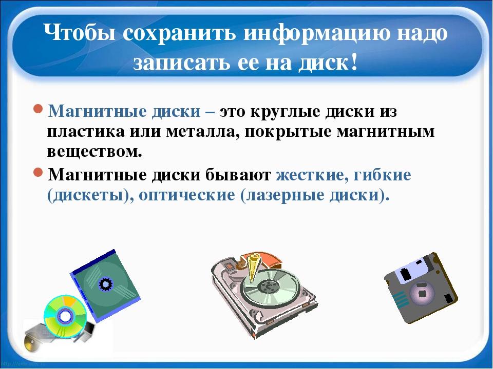 Чтобы сохранить информацию надо записать ее на диск! Магнитные диски – это кр...