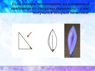 Если теперь посмотреть на сложенный квадратик со стороны диагонали – у нас по