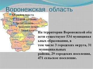 Воронежская область  НатерриторииВоронежскойобластисуществуют534муници