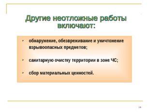 * обнаружение, обезвреживание и уничтожение взрывоопасных предметов; санитарн