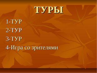 ТУРЫ 1-ТУР 2-ТУР 3-ТУР 4-Игра со зрителями