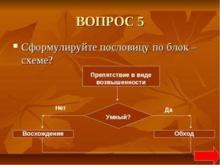 ВОПРОС 5 Сформулируйте пословицу по блок –схеме? Препятствие в виде возвышенн