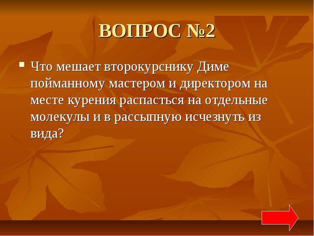 ВОПРОС №2 Что мешает второкурснику Диме пойманному мастером и директором на м...